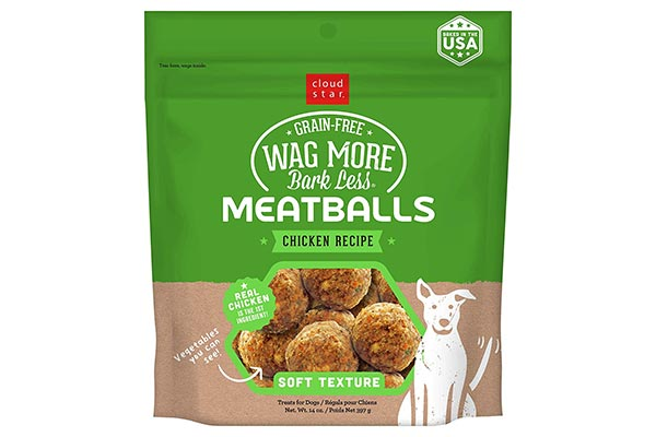 Cloud Star Wag More Bark Less Chicken Recipe Meatballs Grain-Free Dog Treats